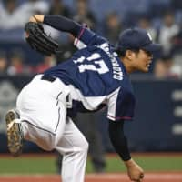 Lions starter Wataru Matsumoto pitches against the Buffaloes on Sunday at Kyocera Dome.