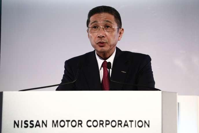 Le président et directeur général de Nissan, Hiroto Saikawa, lors de l'annonce des résultats de la marque, au siège social, à Yokohama, le 14mai.