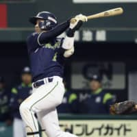 The Swallows' Tetsuto Yamada hits a ninth-inning sacrifice fly against the Lions at MetLife Dome on Saturday. Tokyo Yakult defeated Seibu 6-5.