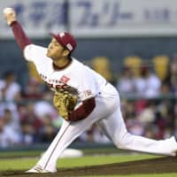 Eagles starter Takahiro Norimoto pitches against the Buffaloes on Tuesday in Sendai. Tohoku Rakuten defeated Orix 6-1.