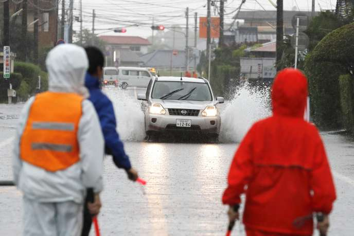 Les routes de Miyakonojo (préfecture de Miyazaki) inondée le mercredi 3 juillet.