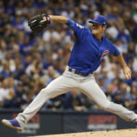 Pitcher Cole Hamels, seen here with the Chicago Cubs last season, has agreed to a one-year contract with the Atlanta Braves.