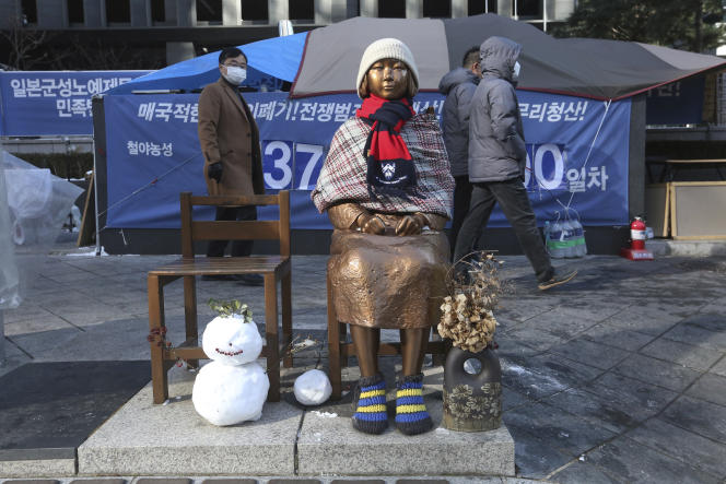 Une statue représentant ces« femmes de réconfort»à Séoul, vendredi 8 janvier.