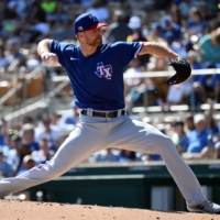 Rangers starter Corey Kluber pitches against the Dodgers during a spring training game in Phoenix on March 1, 2020.   USA TODAY / VIA REUTERS