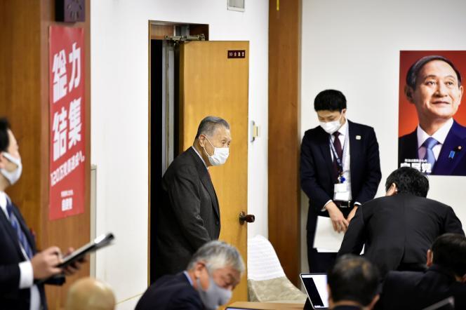 Le président du comité d'organisation des Jeux olympiques de Tokyo, Yoshiro Mori, au siège du Parti libéral-démocrate à Tokyo, le 2 février.