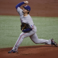 Rangers starter Kohei Arihara pitches against the Rays at Tropicana Field in St. Petersburg, Florida, on Wednesday. | USA TODAY / VIA REUTERS