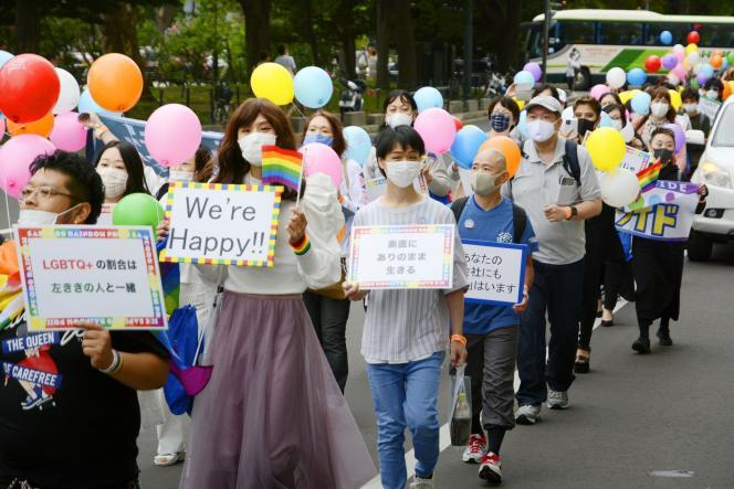 Manifestation en soutien aux personnes LGBTQ, à Sapporo, au Japon, le 12 septembre 2020.