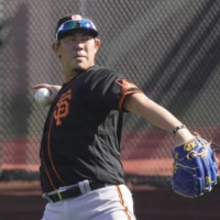 Shun Yamaguchi works out with the San Francisco Giants during spring training in Phoenix on Feb. 23.   USA TODAY / VIA REUTERS