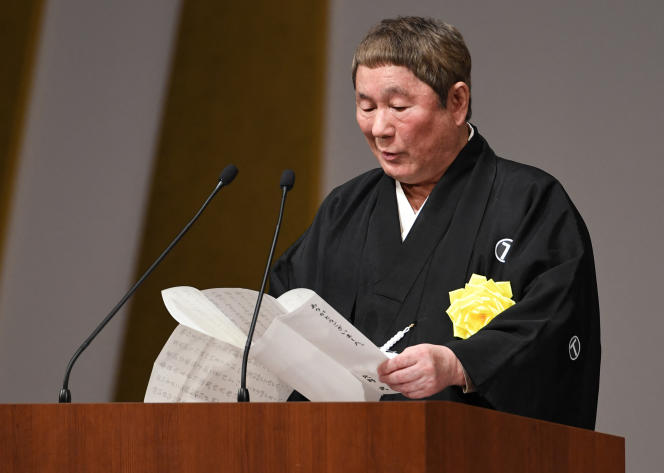 Le cinéaste Takeshi Kitano lors d'une cérémonie célébrant les trente ans de règne de l'empereur Akihito, à Tokyo, en avril 2019.